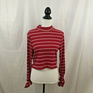 Soul Cake Womens Red Striped Extra Large Long Slee
